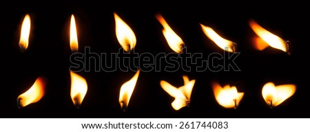 Candle flame set isolated over black background, collection of twelve images - stock photo
