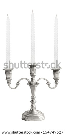 candle holder with white candle unlit isolated on white background - stock photo