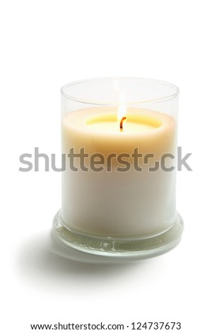 Candle in Glass on White Background - stock photo
