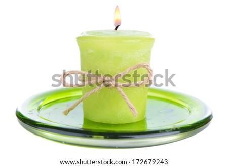 Candle isolated on white - stock photo