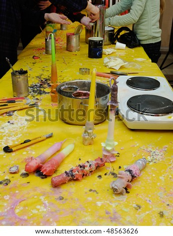 Candle-making  in school - stock photo