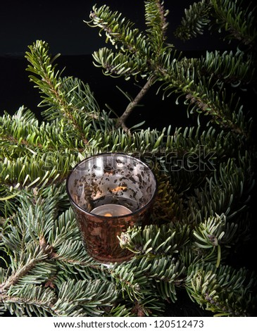 candle on pine - stock photo