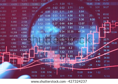 Candle stick graph chart of stock market investment trading.Close-up computer monitor with trading software. Making trading online on the digital screen. Data analyzing in Forex market. - stock photo