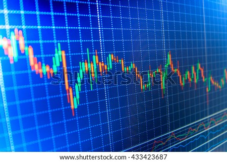 Candle stick graph chart of stock market investment trading. Finance concept. Stock market and other finance themes. Business analysis diagram. Stock trade live. Share price candlestick chart.   - stock photo
