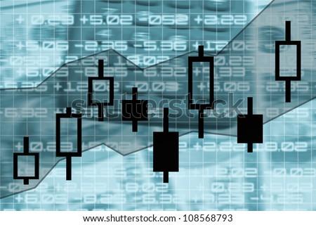 candle stick stock market exchange chart illustration - stock photo