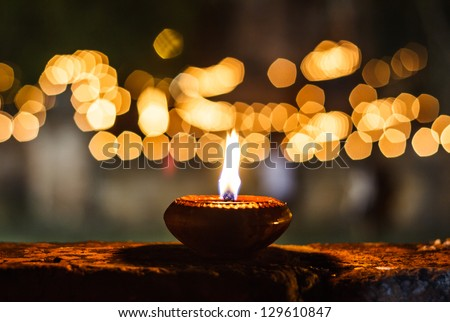 Candles at asian tammple - stock photo