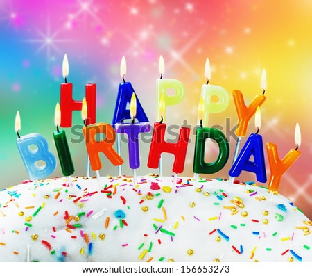 candles burning congratulation happy birthday fun on the cake - stock photo