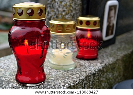 candles cemetery - stock photo