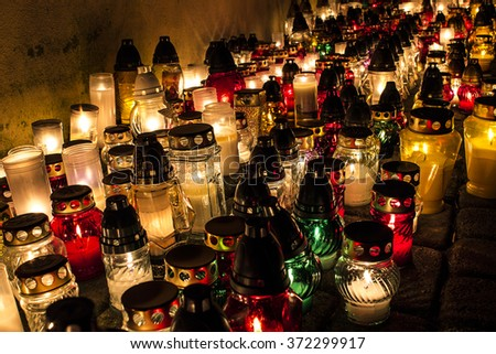 Candles day of all saints - stock photo