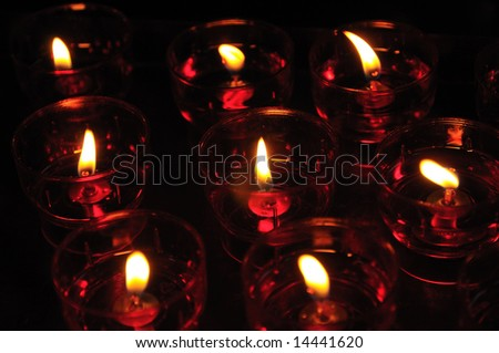 Candles in catholic church - stock photo
