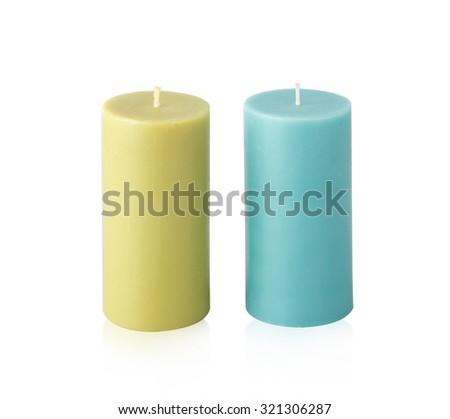Candles isolated on white background - stock photo