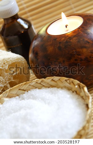 Candles,Mineral Salt  and Massage oil in a Zen Style Spa  - stock photo