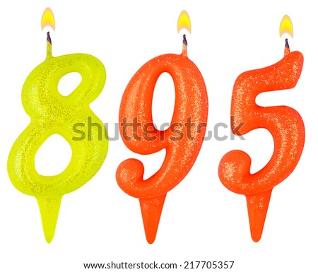 candles number eight hundred ninety-five isolated on white background - stock photo
