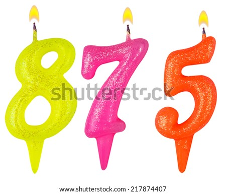 candles number eight hundred seventy-five isolated on white background - stock photo