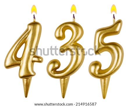 candles number four hundred thirty five isolated on white background - stock photo