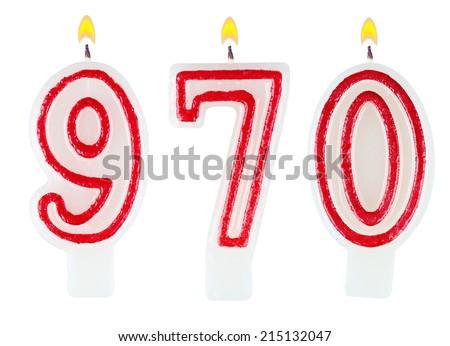 candles number nine hundred seventy isolated on white background - stock photo