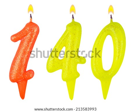 candles number one hundred forty isolated on white background - stock photo