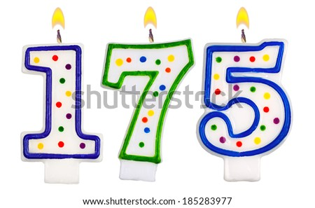 candles number one hundred seventy five isolated on white background - stock photo