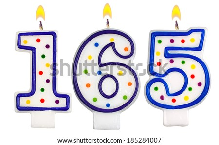 candles number one hundred sixty five isolated on white background - stock photo
