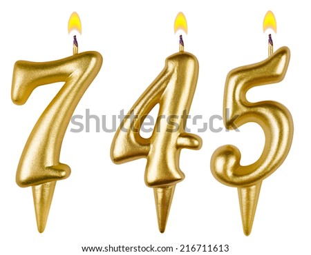 candles number seven hundred forty-five isolated on white background - stock photo