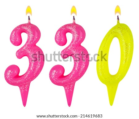 candles number three hundred thirty isolated on white background - stock photo