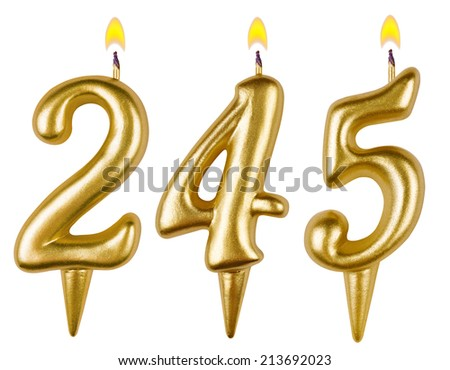 candles number two hundred forty five isolated on white background - stock photo