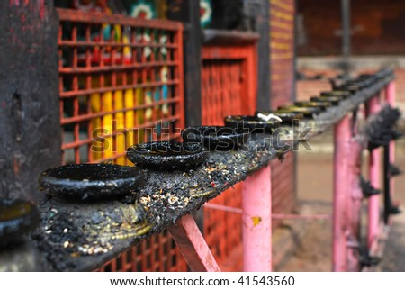 candlestick of nepal temple - stock photo