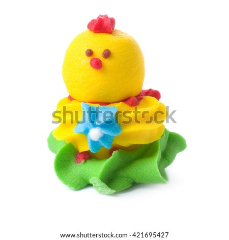 Candy as chicken isolated on white. - stock photo