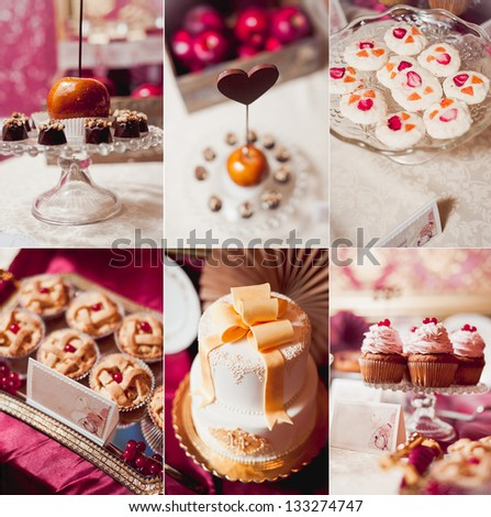 Candy bar collection. Collage - stock photo