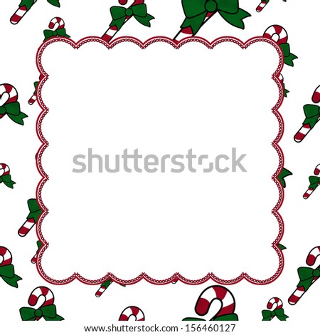 Candy Cane Christmas Background center for copy-space, Christmas Time Background - stock photo
