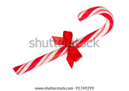 candy cane isolated on a white background - stock photo