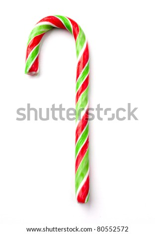 candy cane lolly isolated on white - stock photo