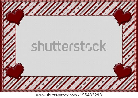 Candy Cane Striped Christmas Background with Hearts and center for copy-space, Christmas Time Background - stock photo