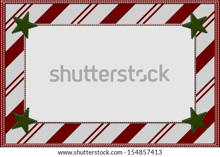 Candy Cane Striped Christmas Background with Stars and center for copy-space, Christmas Time Background - stock photo