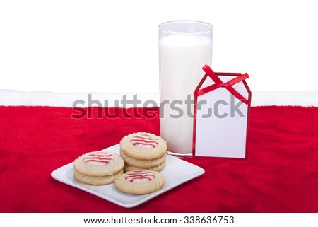 candy cane stripped peppermint flavor sugar cookies on a plate with a glass of milk. Note message tag  blank for your message - stock photo