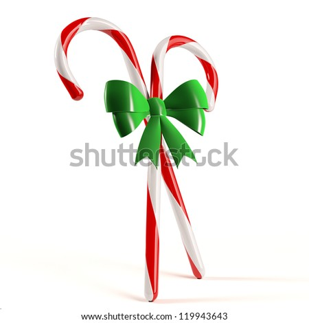 Candy Canes with Bow - stock photo