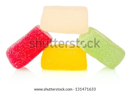 candy coloured of jelly isolated on white background - stock photo
