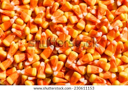 Candy corn, a traditional Halloween treat - stock photo