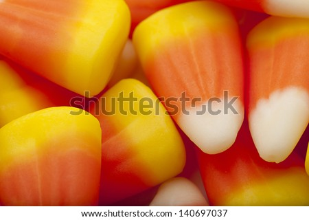 Candy corn for halloween dessert. - stock photo