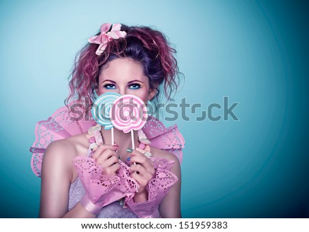 candy girl / laughing - stock photo
