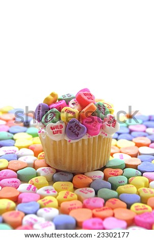 Candy Heart Cupcake - stock photo