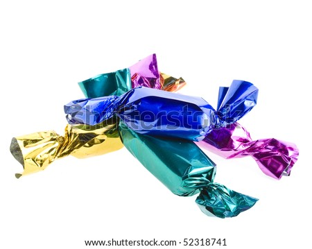 candy in colored wrapper isolated on white background - stock photo