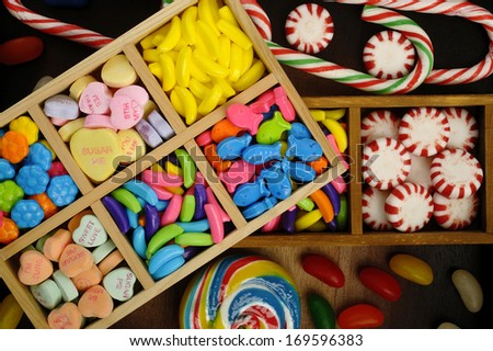 candy in wooden box - stock photo