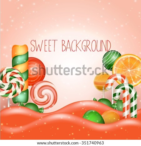 Candy land background - stock photo