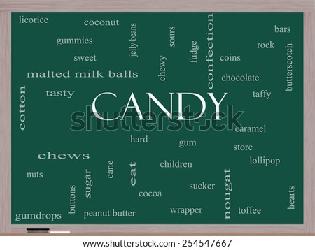 Candy Word Cloud Concept on a Blackboard with great terms such as sweet, store, cane, bars and more. - stock photo