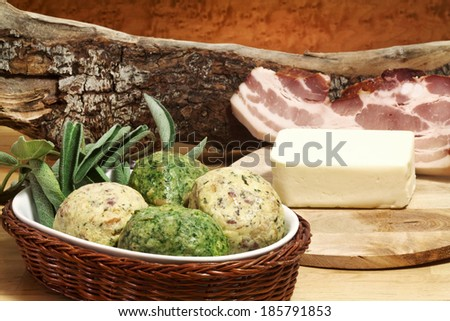 canederli dumpling recipe with ingredients - stock photo