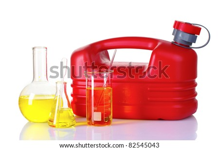 canister and fuel in test tube isolated on white - stock photo