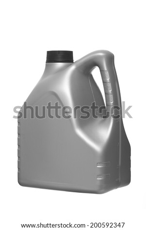 canister for engine oil  isolated on white background - stock photo