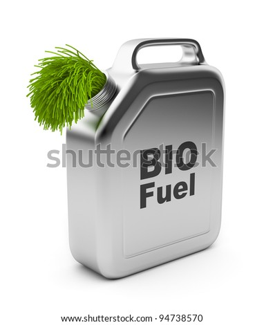 Canister with BIO fuel 3D.  Alternative energy. Isolated on white background - stock photo