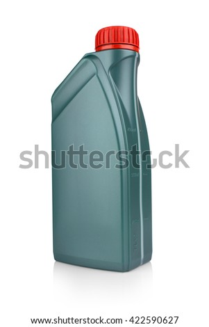 Canister with engine oil on white background - stock photo